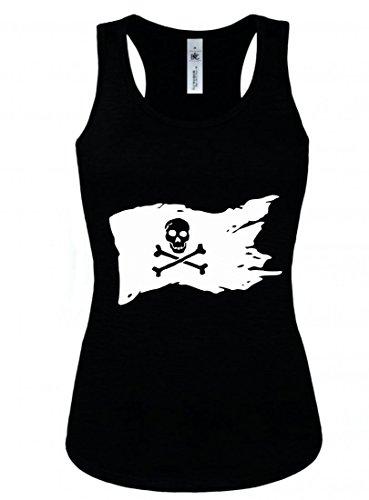 Druckerlebnis24 Tank Top Amerika- SCHWARZ- Knochen- Flagge- Fahnen- SPAß- Urlaub- Pirat- Piraten Material- SCHÄDEL- Symbol- WEIß für Herren und Damen