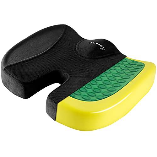 Tusscle Sitzkissen, Memory Foam Kissen mit Gel, Stuhlkissen für Bürostuhl, Auto und Rollstuhl, Verfügbares Gewicht bis zu 120 kg