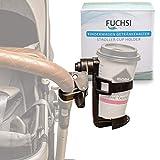 FUCHSI Getränkehalter für Kinderwagen | Kaffeehalter Getränkehalterung Buggy 360 Grad drehbar | Universal-Getränkehalter Becherhalter Baby Flaschenhalter – schwarz