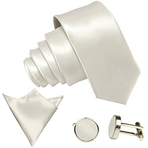 GASSANI 3-SET Krawattenset, 8,5Cm Breite Cremefarbene Herren-Krawatte Schmal Manschettenknöpfe Ein-Stecktuch, Bräutigam Hochzeitskrawatte Glänzend