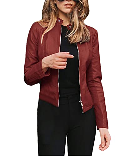 Chaquetas de cuero de la PU para las mujeres retro motocicleta motocicleta chaqueta vintage cremallera bombardero chaqueta casual Outwear vino rojo M