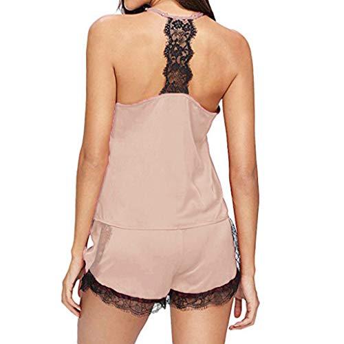 Fenverk Satin Nachthemd Damen Sexy Dessous Set Spitze Cami Top Nachtwäsche Negligee Babydoll Zweiteilige Reizwäsche Lingerie mit Shorts(F Beige,M)