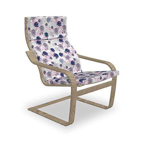 ABAKUHAUS Swans Poäng Sessel Polster, Frühlings-Blumen Gracious Tier, Sitzkissen mit Stuhlkissen mit Hakenschlaufe und Reißverschluss, Baby Pink Sea Blue