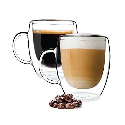 2 tazas de café de gran capacidad con asas, 350 ml, latte Cappuccino Macchiato, tazas de cerveza, bebidas heladas y bolsas de té de helado, tazas de postre
