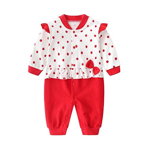 JinBei Bebé Niñas Pelele Algodon Pijama Recien Nacido Mamelucos Manga Larga Rojo Lunares Mono Trajes 9-12 Meses