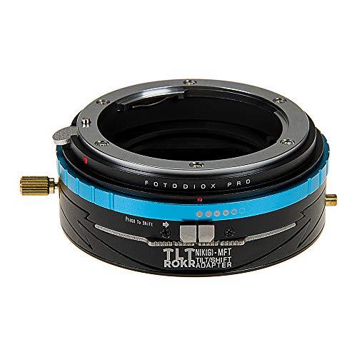 Fotodiox Pro TLT ROKR - Adaptador de montura de lente inclinable y cambio para Nikon Nikkor F Montura G-Type D/SLR a Micro Cuatro Tercios (MFT, M4/3) Montaje sin espejo Cuerpo de la cámara