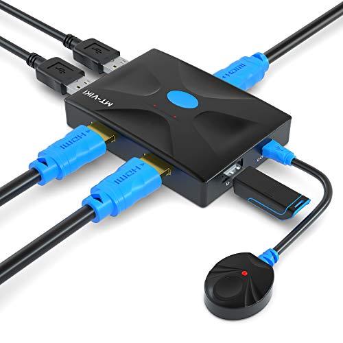 Conmutador KVM HDMI 2 puertos con control, MT-HK02 USB KVM selector de caja con cables KVM 2 en 1, 4 K × 2 K @ 30 Hz