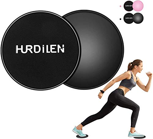 Hurdilen Core Sliders, Exercise Gliding Discs Dual Sided Use on Carpet and Hardwood Floors, Lightweight and Perfect Fitness Apparatus for Training Abdominal Core Strength (Black)