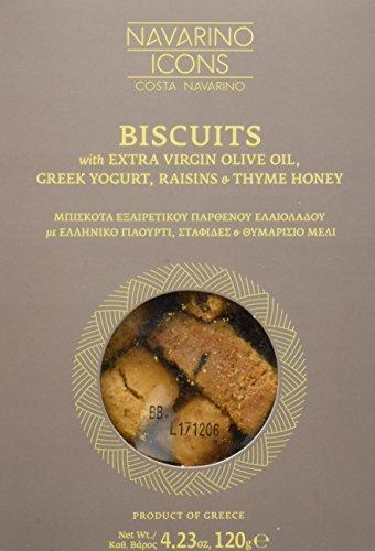 Navarino Icons Kekse Natives Olivenöl Extra, Griechischer Joghurt, Rosinen und Thymian Honig, 5er Packung (5 x 120 g)