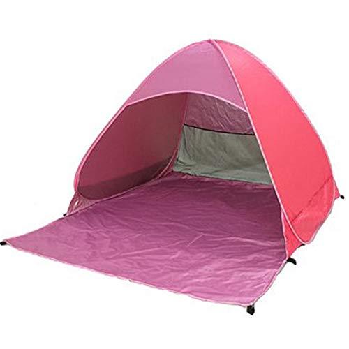 Nrpfell Tente de Plage Ultra LéGèRe Tente Pliante -Up Automatique Tente Ouverte Famil Le Poisson Camping Anti-UV Plein Parasol Rose