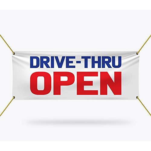 "Drive-Thru Open Banner Sign - 13 oz Heavy Duty Waterproof Drive-Thru Open Vinyl Banner with Metal Grommets, A (24"" x 48"")"