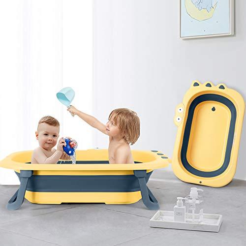 ベビーバス beberoad 折りたたみ式 赤ちゃんお風呂 安全 コンパクト 子供用風呂 赤ちゃん用 収納容易 滑り止め設計 ベビー用浴槽 (イェロー)