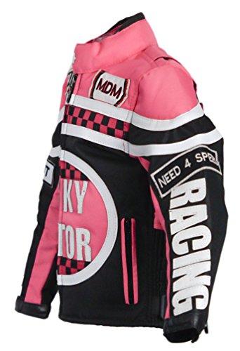 MDM Mädchen Motorradjacke in rosa für Kinder, Bikerjacke, Racing Jacke (3XL)