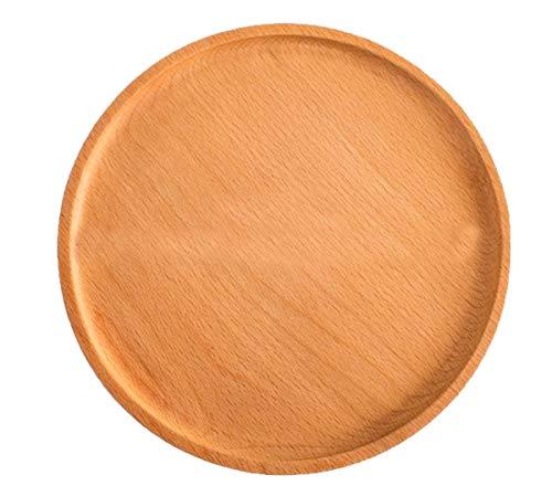 NANXCYR Pizza BoardVassoio rotondo giapponese in legno famiglia piatto di pane solido piatto di tè vassoio pasticceria piatto di frutta secca piatto di frutta piatto,24cm