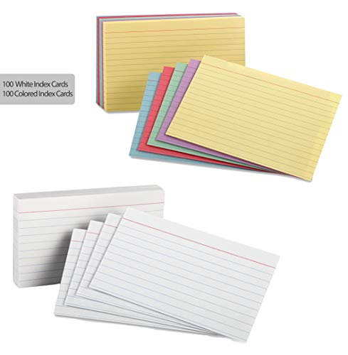 Index Cards - 3x5 Inch - Heavy Weight Ruled Index Card - 100 White Cards, 100 Assorted Colors Cards, Index-Cards Great for Notes, Organizing, Flash Cards, Lists, Recipes and More (White and Primary)