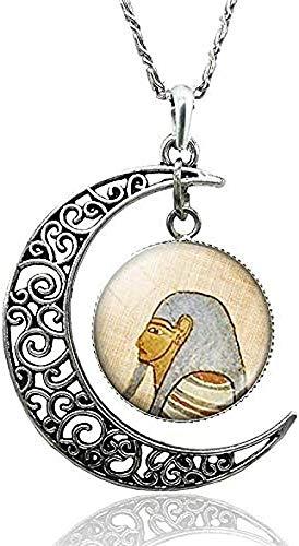 Collar Faraón egipcio Pirámide Luna Creciente Collar Antiguo Egipto Cultura Esfinge Anubis Escarabajo Diosa Collar de cabujón de cristal Longitud de la cadena 50 cm
