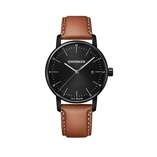 Wenger Hombre Urban Classic - Reloj de Acero Inoxidable/Cuero de Cuarzo analógico de fabricación Suiza 01.1741.136