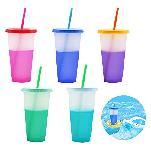 TSLBW 5 PCS Bicchieri in Plastica Bicchieri Colorati Acqua Bicchieri Che cambiano Colore Bicchieri riutilizzabili Colorati, riutilizzabili, infrangibili, Bambino, Campeggio, Acqua, Birra, Impilabili