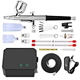 Gocheer Upgraded 30PSI Airbrush Kit, Multi-Function Dual-Action Airbrush Set with Compressor for Painting Portable Air Brush Set for Makeup Art Craft Cake Decoration Nail Design Tattoo Model