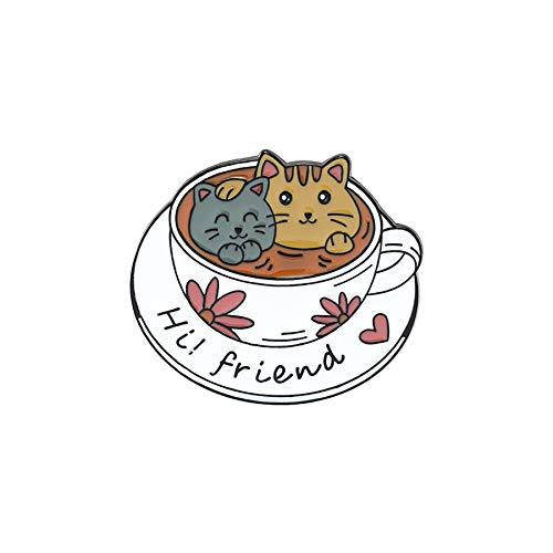 Serie de temas de café, alfileres de esmalte suave, taza personalizada, gatos, broches de animales, insignias de dibujos animados, alfiler de solapa, regalo de joyería para amigos