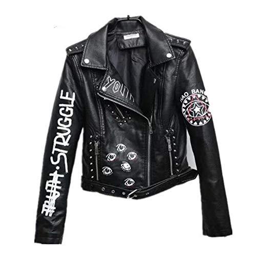 WYLLA Freizeit Schwarze Graffiti-Lederjacke Damen Spring Punk Moto Coat Cropped Faux Jacken Mit Gürtel PUC Größe L