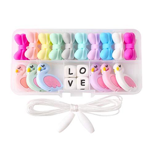 Mamimami Home Bébé Silicone anneau de dentition Mix Couleur Géométrique Flamingo Perles DIY Collier Mâcher Bracelet Breakaway Fermoir Jouets De Dentition