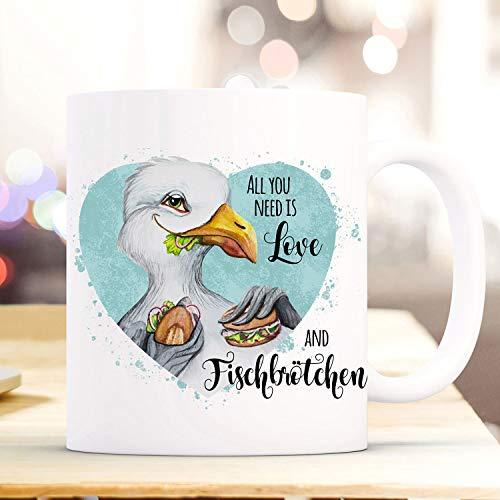 Ol322ay mok mok koffiemok meeuw vogel spreekwoord Alles wat u nodig heeft, is visbroodje koffiemok geschenk Wordmug ts971