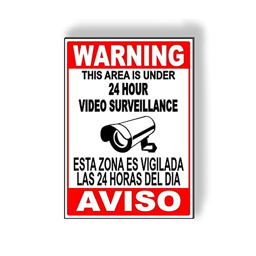 Señal de metal de aluminio Señal de advertencia española de advertencia de advertencia de esta zona es menos de 24 horas de...