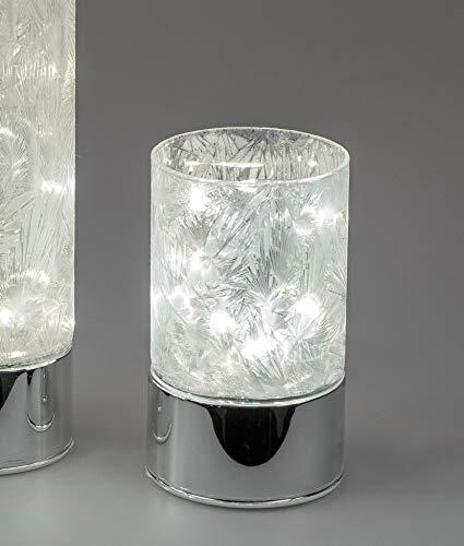 formano LED Deko Licht, Lampe Zylinder Frosty H. 15cm weiß Silber W19
