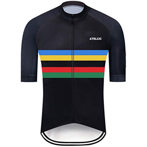 Atelcic Maglia per ciclismo, mountain bike, spinning, ciclismo su strada, a maniche corte, estiva, per uomo e donna, Unisex - Adulto, multicolore, XS