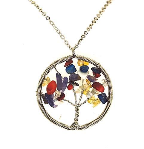 Gemelolandia Colgante Arbol de la Vida Piedras Multicolor 50mm   Collar Casual Para hombres y Mujeres - Idea para Regalar a Amigos Pareja y Familiares
