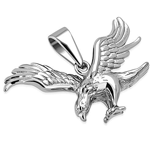 BlackAmazement Anhänger Edelstahl Adler Eagle Lederband Halskette Silber Biker Herren (Anhänger ohne Lederkette)