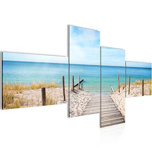 Quadro XXL Spiaggia Mare 200 x 100 cm Stampa D'Arte Murale Tela Non Tessuta Decorazione Soggiorno Camera Da Letto 609741a