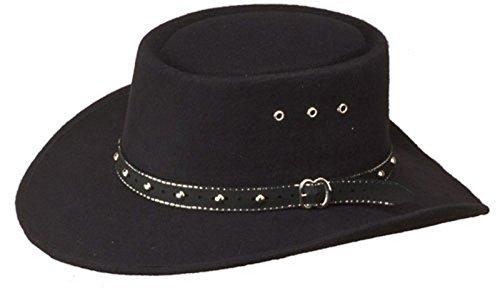 Western Faux Felt Gambler Cowboy Hat -Black S/M by Western Express