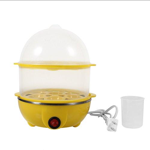 Eierdampfer, 2Colors 220V Multifunktionaler doppelschichtiger elektrischer Eierkessel Kocher Dampfgarer Heimküchengebrauch(Gelb)