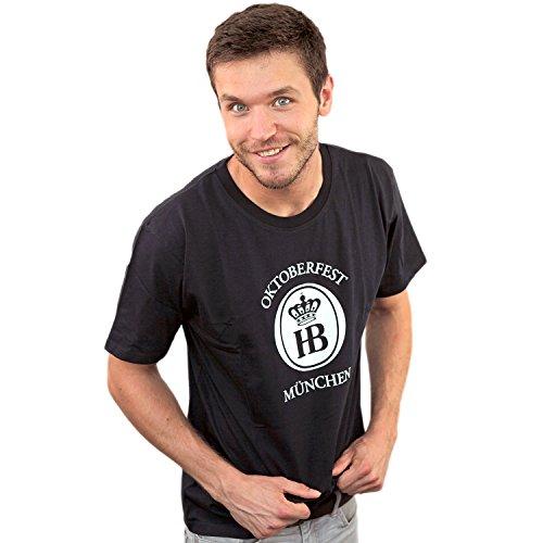 Hofbräu T-shirt Oktoberfest Fan, heren T-shirt van 100% katoen, zwart
