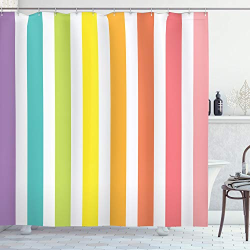 Ambesonne Modern Shower Curtain, Circus Theme Rainbow Colored Image Bold Stripes with Blank Background Image Print, Cloth Fabric Bathroom Decor Set with Hooks, 70' Long, Pastel Pink
