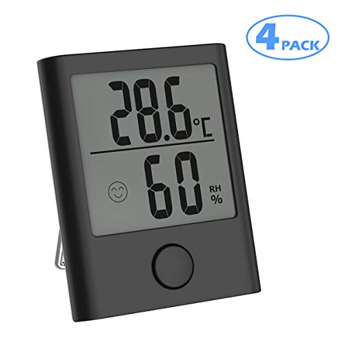FOCHEA Thermo-Hygrometer, 4 Stück Digital Thermometer Hygrometer Innen, Tragbares Hydrometer Feuchtigkeit mit Klare Temperatur, Feuchtigkeit und Umschalter für °C und °F für Babyraum, Büro (Schwarz)
