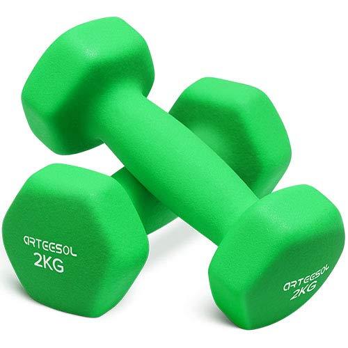 arteesol Kurzhanteln, Set mit 2 Stück, 10kg, 8kg, 5kg, 4kg, 3kg, 2kg, 1kg, Neopren-Hantelset für Gewichtheben für Damen und Herren, 2 kg Paar
