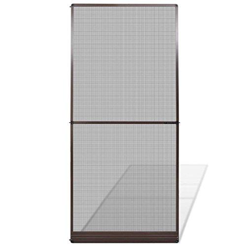 Festnight Mosquitera para Puertas de Estructura de Aluminio Abatibles Marrón 100 x 215 cm