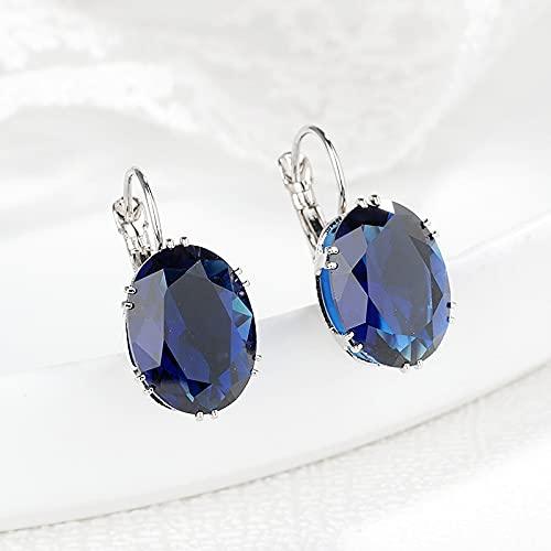 Quarter Pendientes de Clip de Zafiro para Mujer Pendientes de Jade Joyas Peridoto Obsidiana Piedra Preciosa