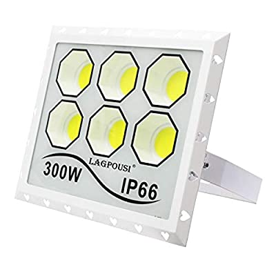 LAGPOUSI Outdoor LED Flood Light, IP66 Waterproof, 2000W HPS Equivalent, 300W Cold White 6000K, 120° Beam Angle, Security Floodlight for Home, Backyard, Patio, Garden, Tree and More (6000K, 300W)