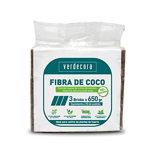 verdecora   Fibra de Coco   3 Bricks x 650gramos
