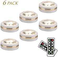 LEASTYLE Wireless LED Puck Lights with Remote Control 6 Pack, LED Under Cabinet Lighting,Puck Lights Battery Operated, Closet Light, Under Counter Lighting, Stick On Lights