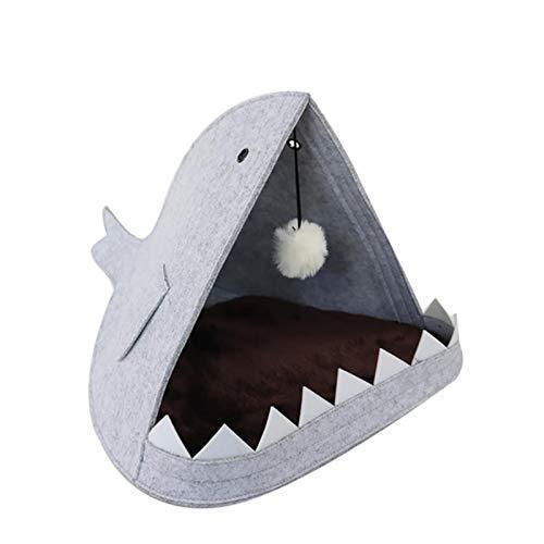 UKKO Cama de fieltro para mascotas con forma de tiburón y nido de gato para mascotas, sofá para estaciones disponibles, casa de mascotas para gato y perro