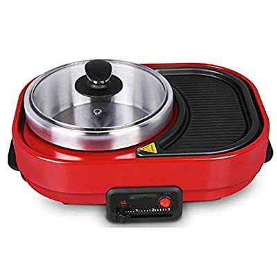 ZLSANVD BBQ Poke Hot Pot Non-Stick All Powerful Stovetop Grill Dual Pot Korean Style Barbecue Machine Smoke-Free Baking Electric Multifunctional Pansafe and Reliable