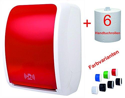 TSK-System Papierhandtuchspender im Profiset - Hochwertiger rot/weiß Handtuchspender für Papierhandtücher mit Sensorfunktion und Strom- oder Batteriebetrieb - Inklusive 6 Rollen Papierhandtücher