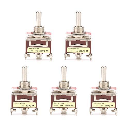 LANTRO JS - Interruptor de palanca de 5 piezas, interruptor de palanca de 12 mm ON-OFF-ON de 3 posiciones y 3 pines, interruptor de palanca de 15 A 250 V