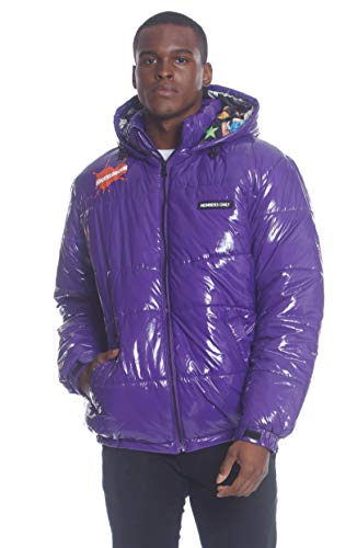 Members Only Men s Shiny Collab Puffer Jacket (Purple, L)
