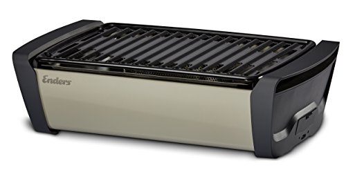 Enders 1363 Aurora raucharmer Tischgrill, mobiler Holzkohle-Grill, kleiner Grill, rauchfreier Tischgrill, Balkon-Grill, Picknick-Grill, Camping-Grill, Grill mit Belüftung, taupe